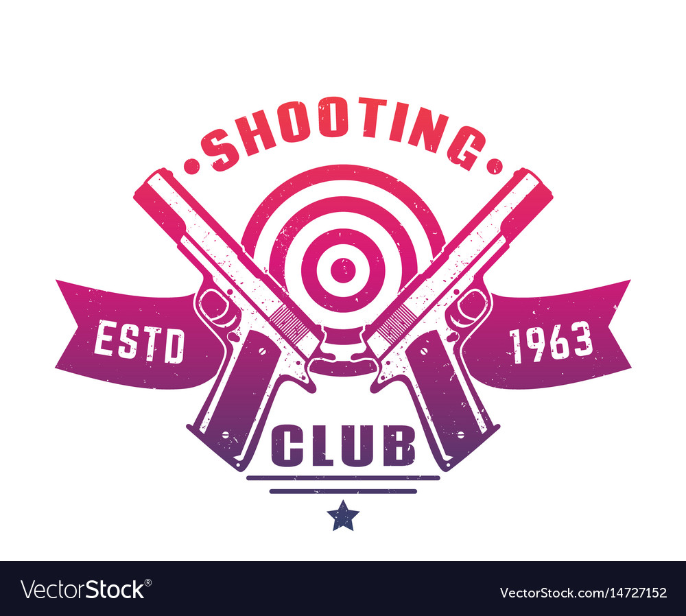 Shooting club logo emblem badge with two pistols vector image