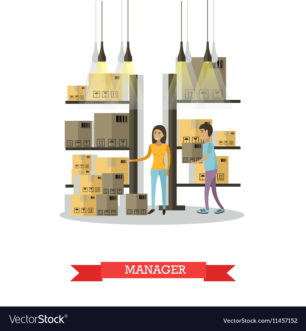 Warehouse female manager comic character vector image