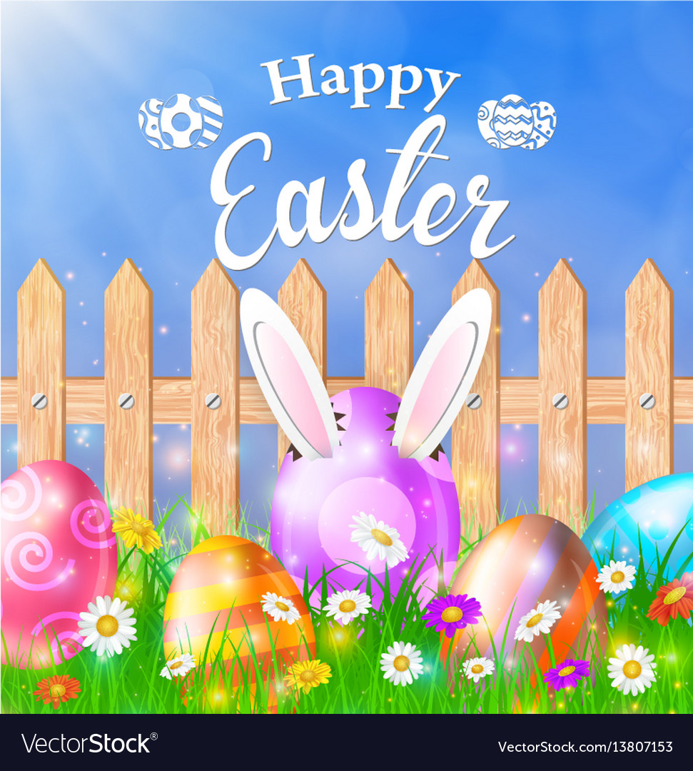 Easter eggs on a grass field with flower vector image