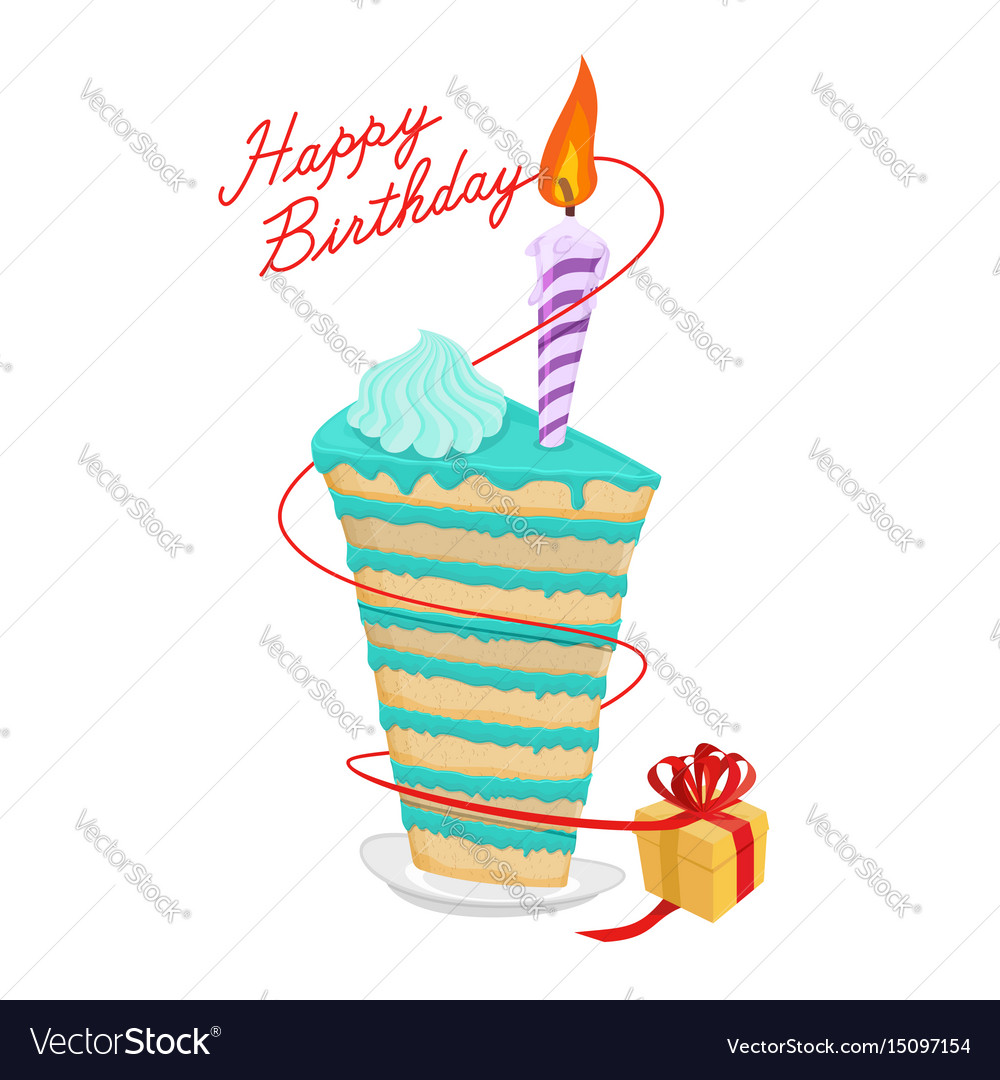 Birthday piece of cake and gift great sweets vector image