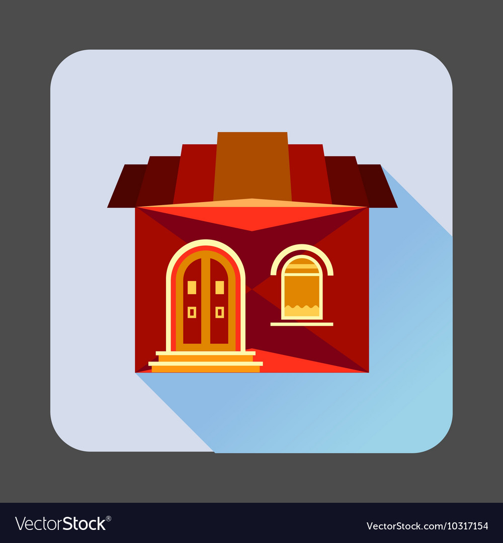 Cute red house icon flat style vector image