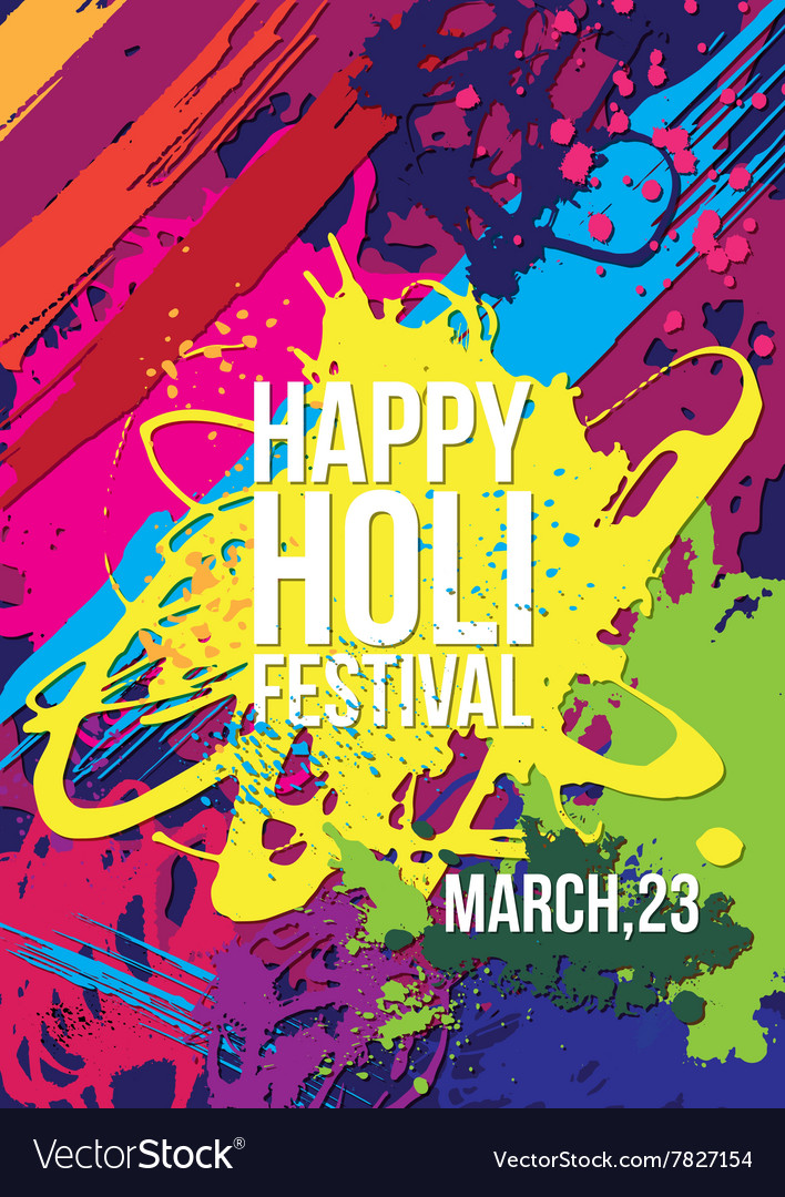 Holi festival poster template Royalty Free Vector Image