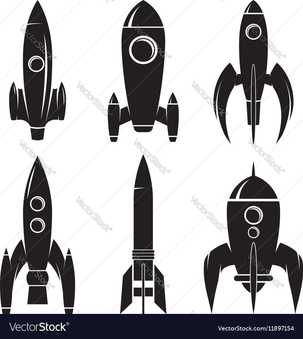 Set of the rockets isolated on white background vector image