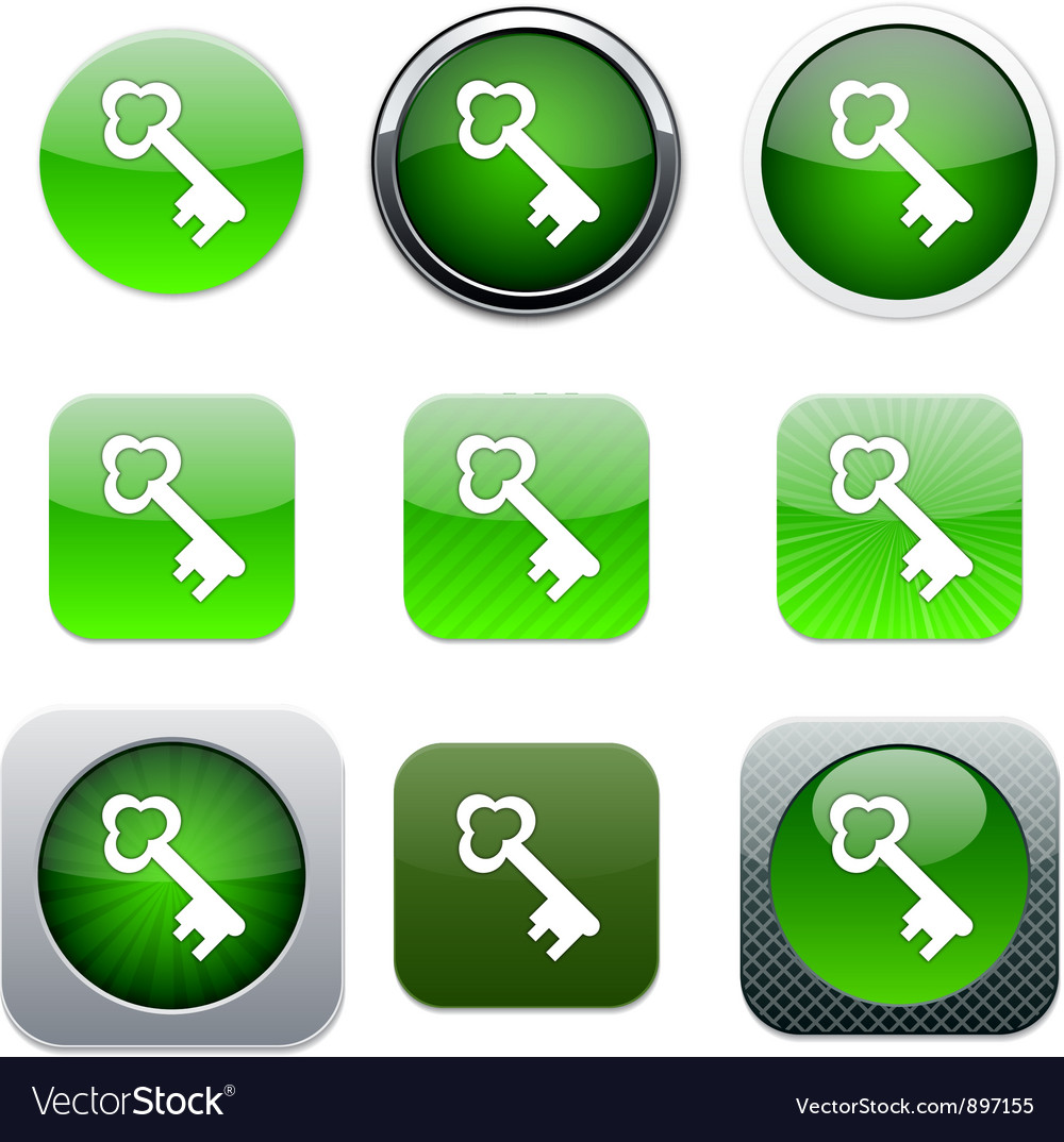 Key green app icons Vector Image