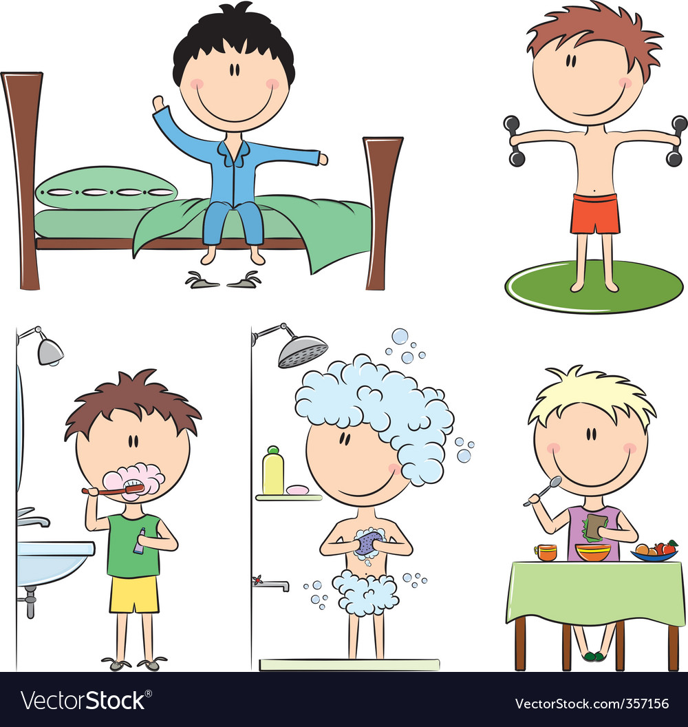 Daily morning boy's life Vector Image