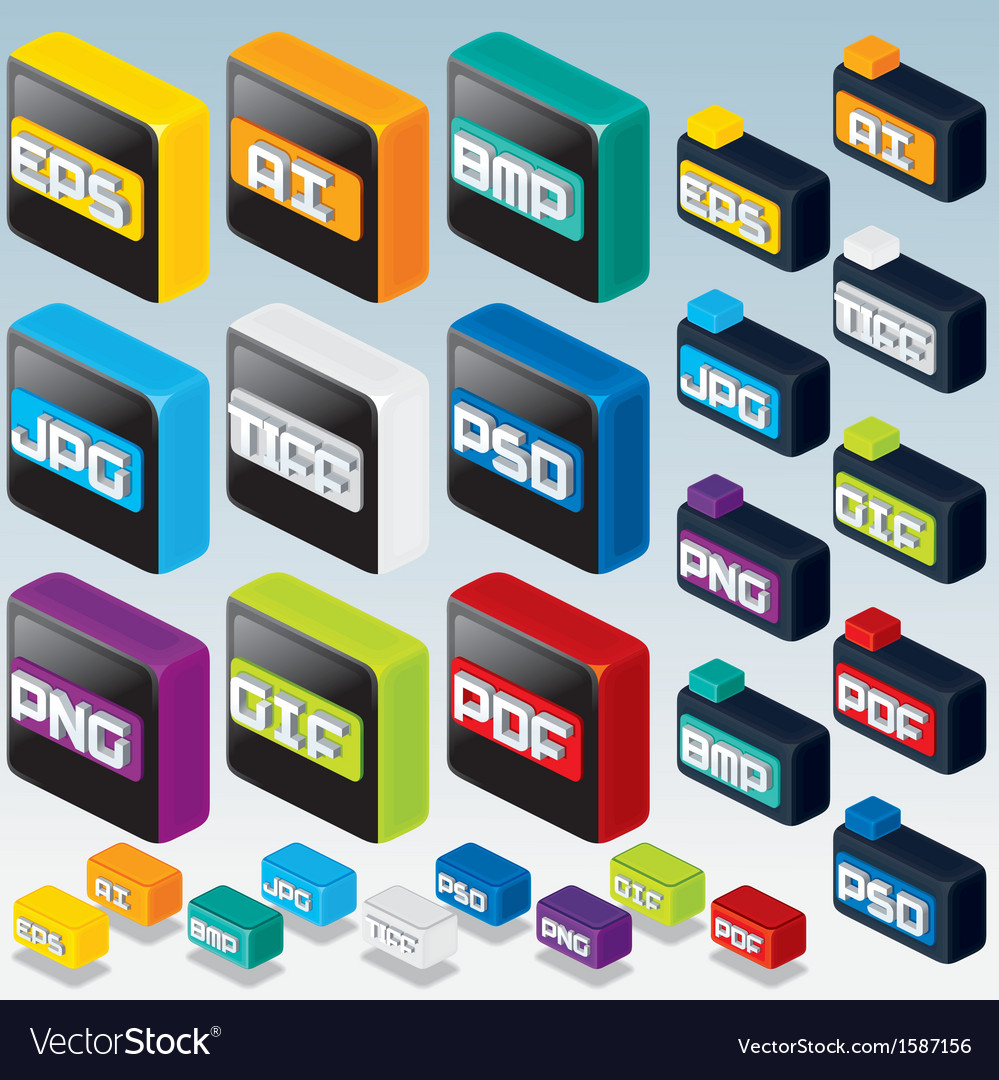 3D Isometric File Type Icons Computer Graphics vector image