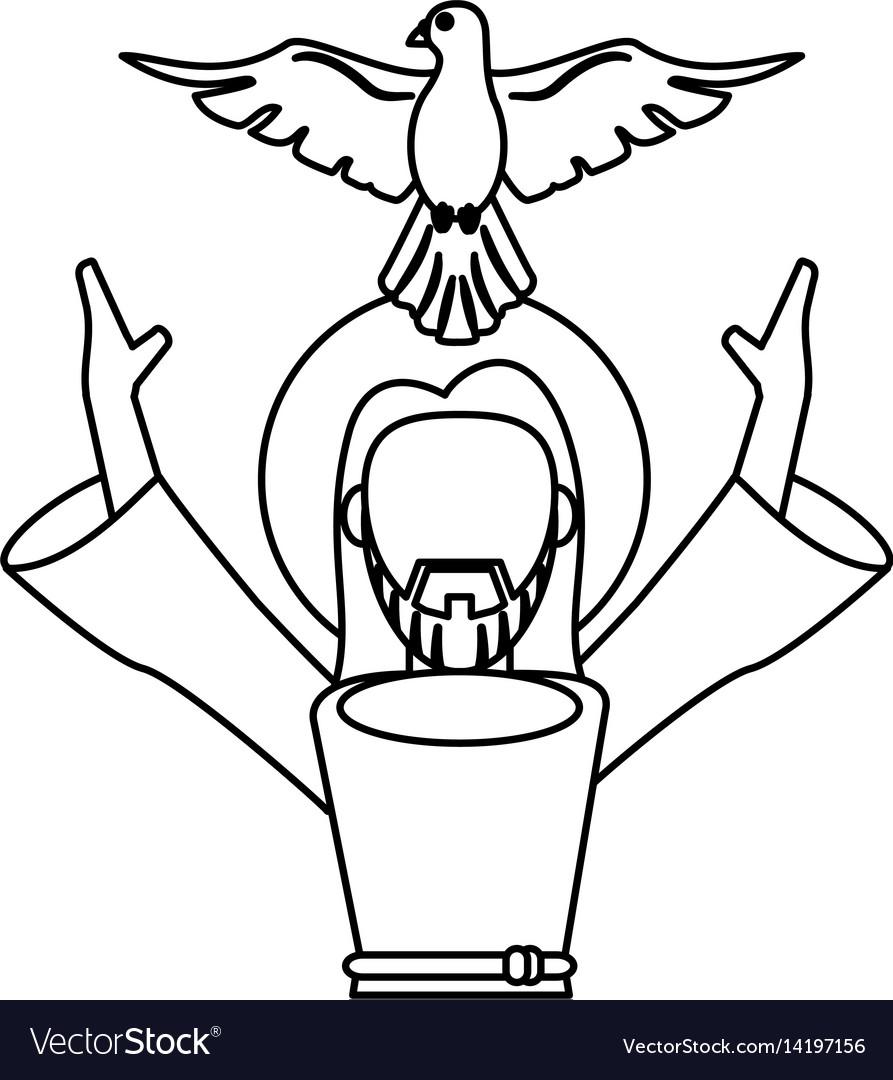 Jesus christ holy spirit catholic symbol outline vector image buycottarizona Image collections
