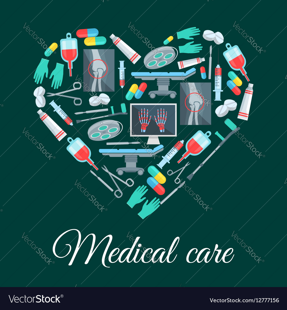 Medical care medicine heart shape poster vector image