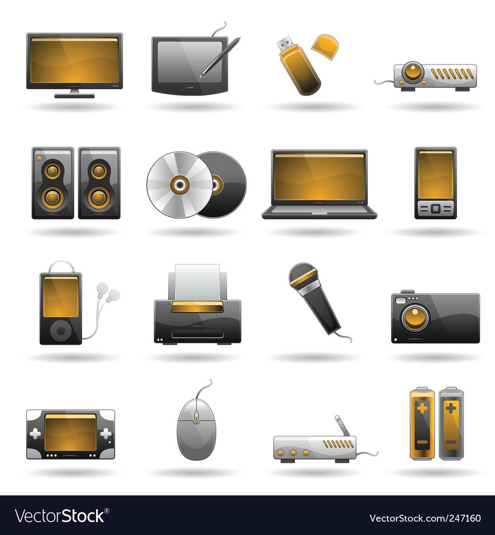 Electronic icon set vector image