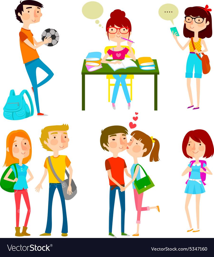 High school kids vector image