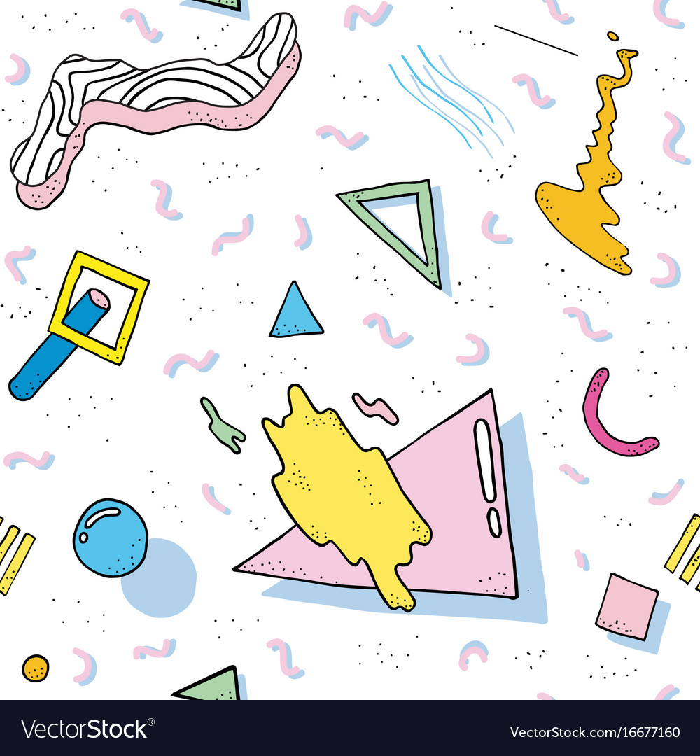 Modern abstract design pattern memphis 80s-90s vector image