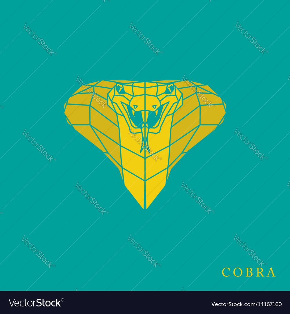 Polygonal yellow cobra icon vector image