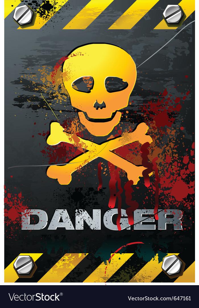 Bloody grunge skull on brushed metal plate detaile vector image