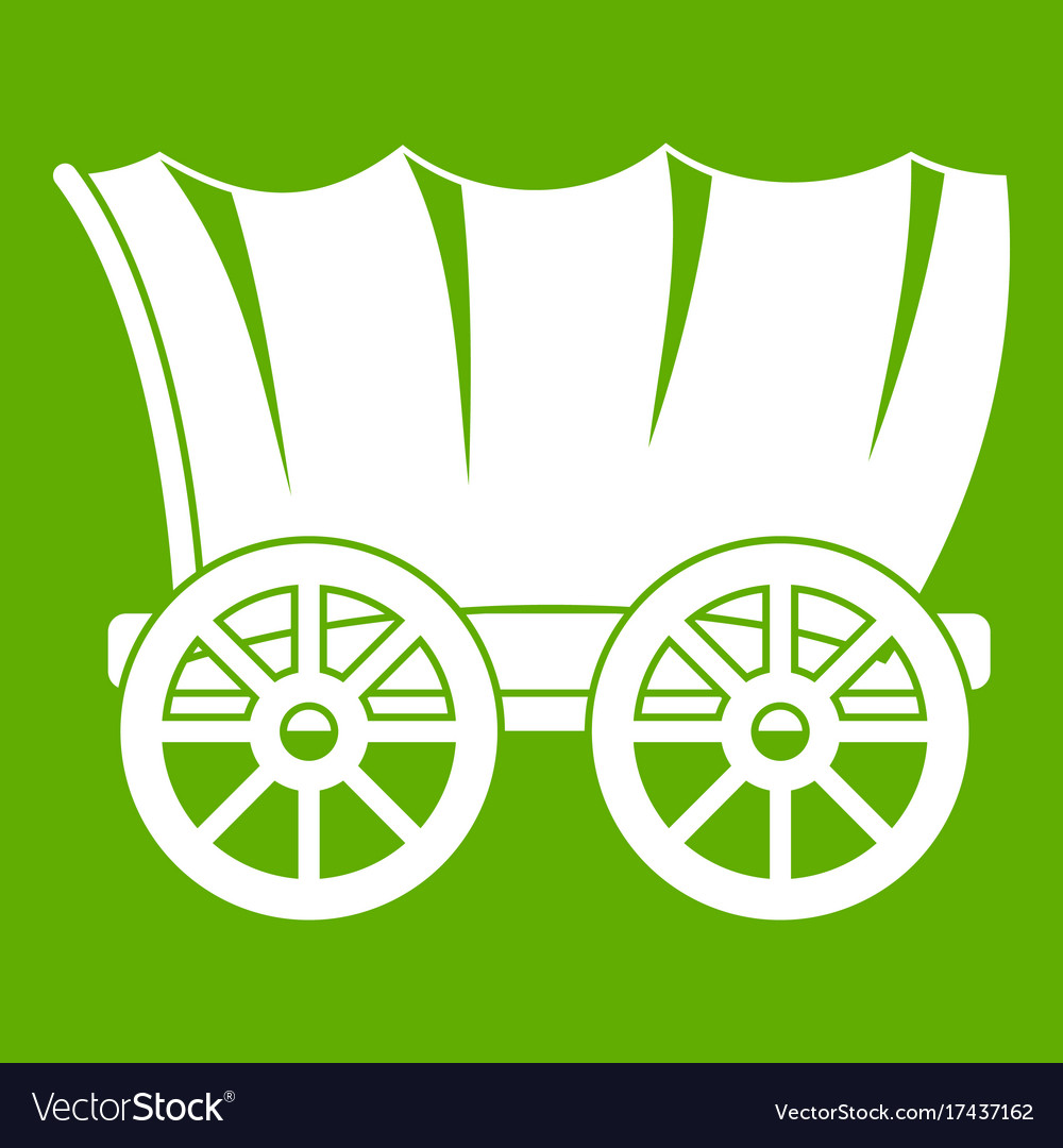 Ancient western covered wagon icon green Vector Image