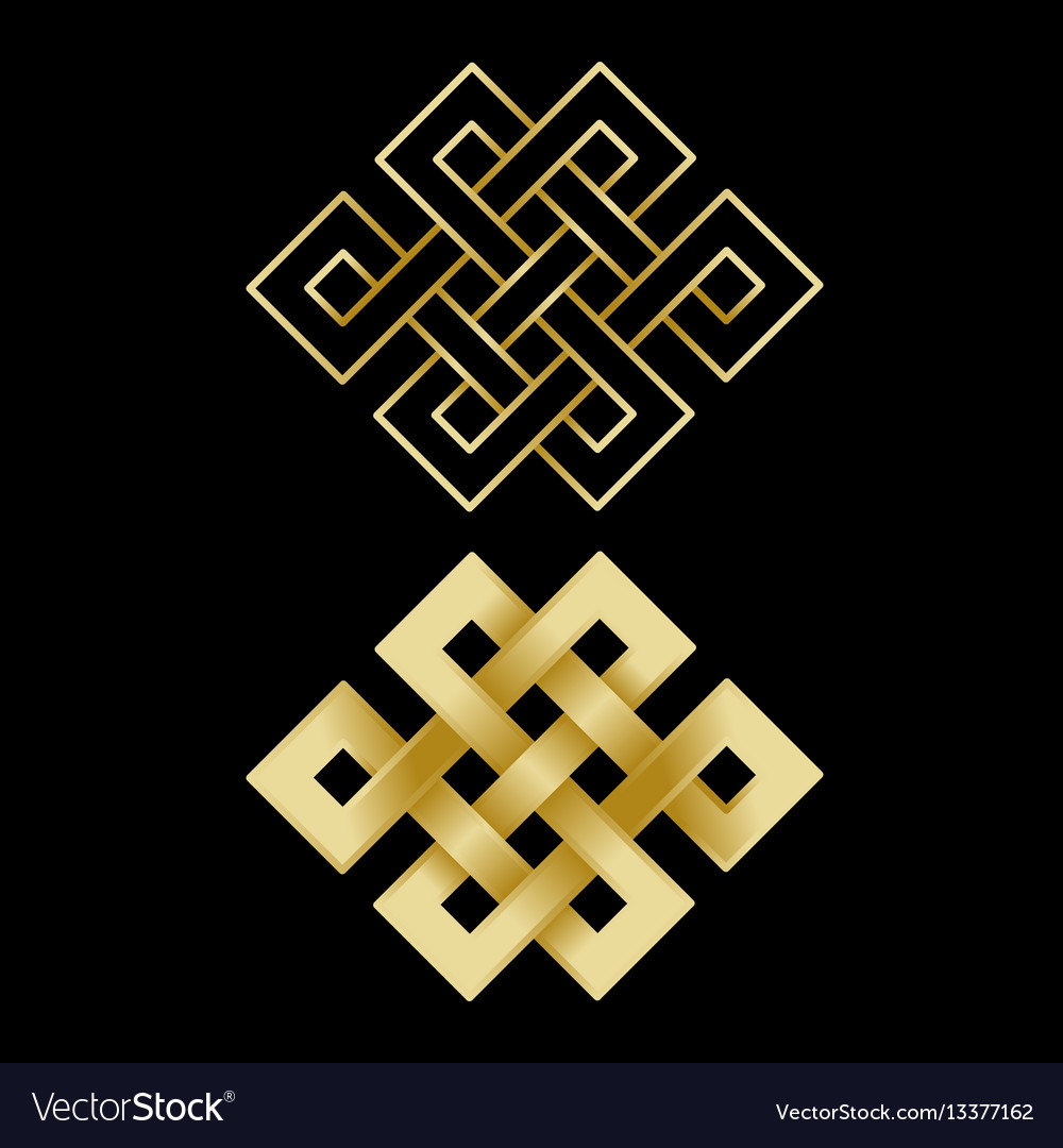 Gold endless knots vector image