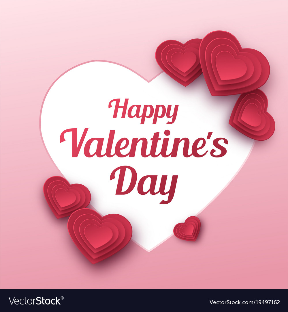 Happy valentines day greeting card paper art vector image kristyandbryce Images