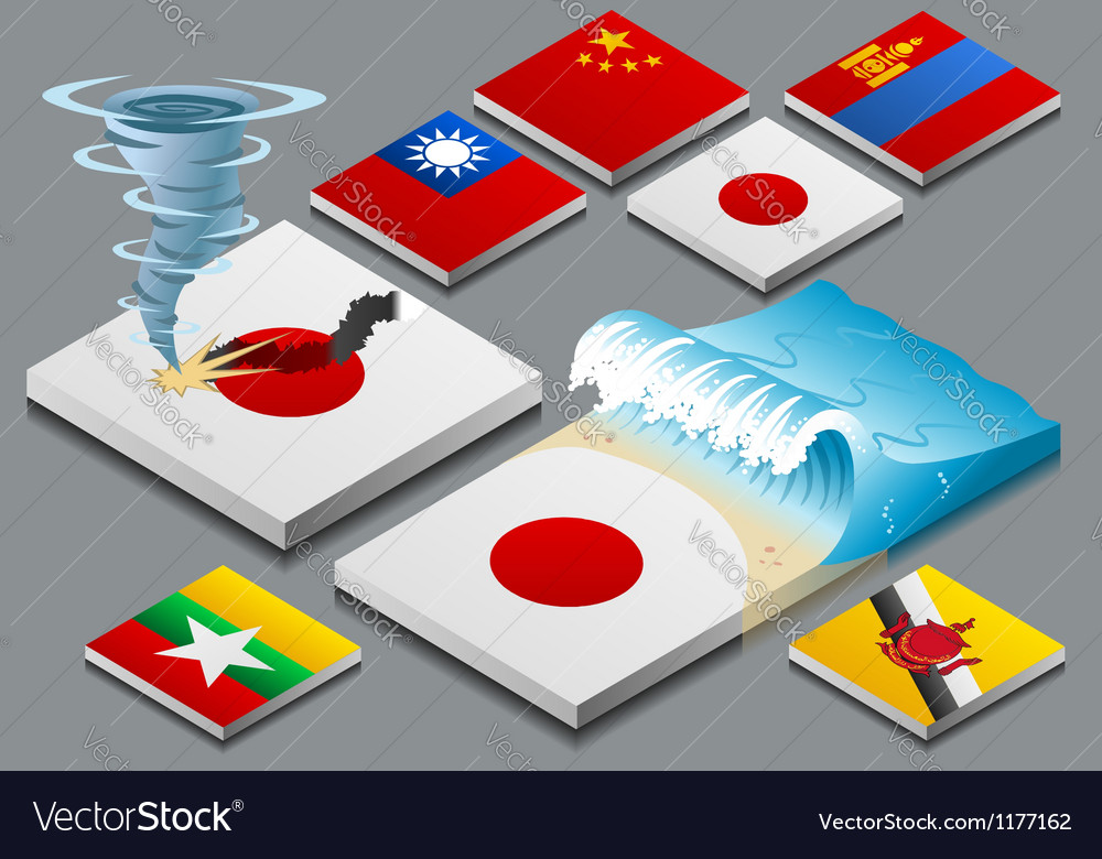 Isometric representation of natural disaster vector image