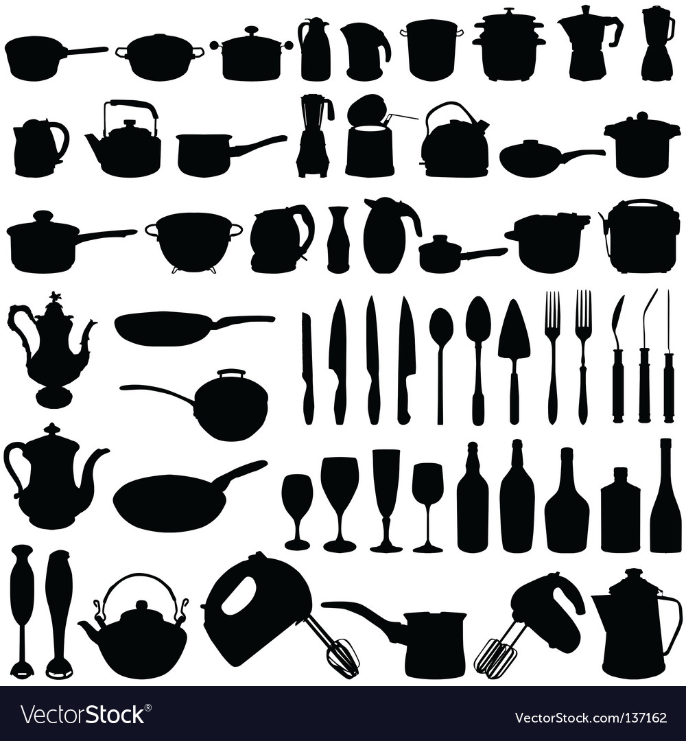 Kitchen Utensils Silhouette Vector Free kitchen tools royalty free vector image - vectorstock