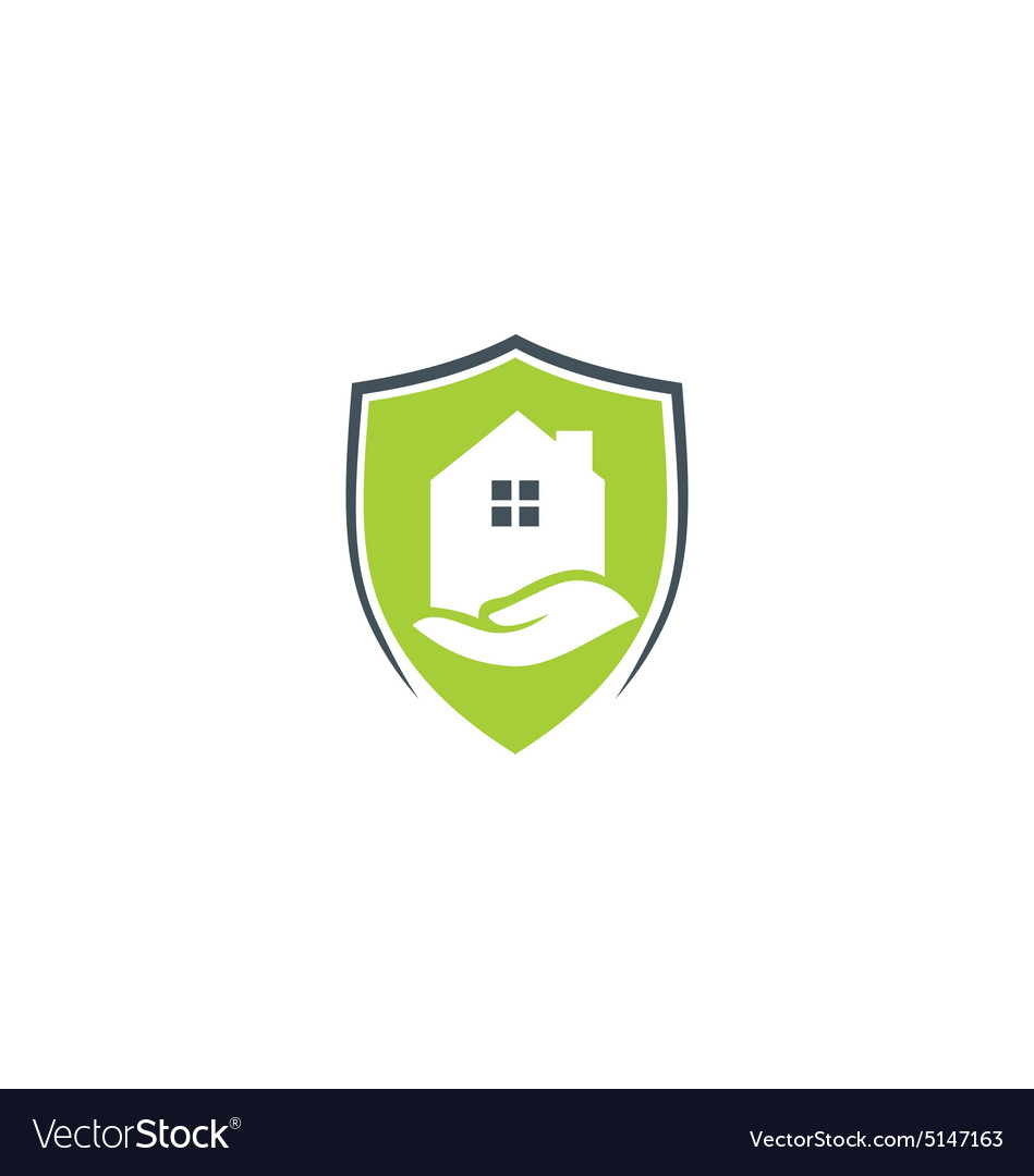 Shield House house protection shield care logo royalty free vector image