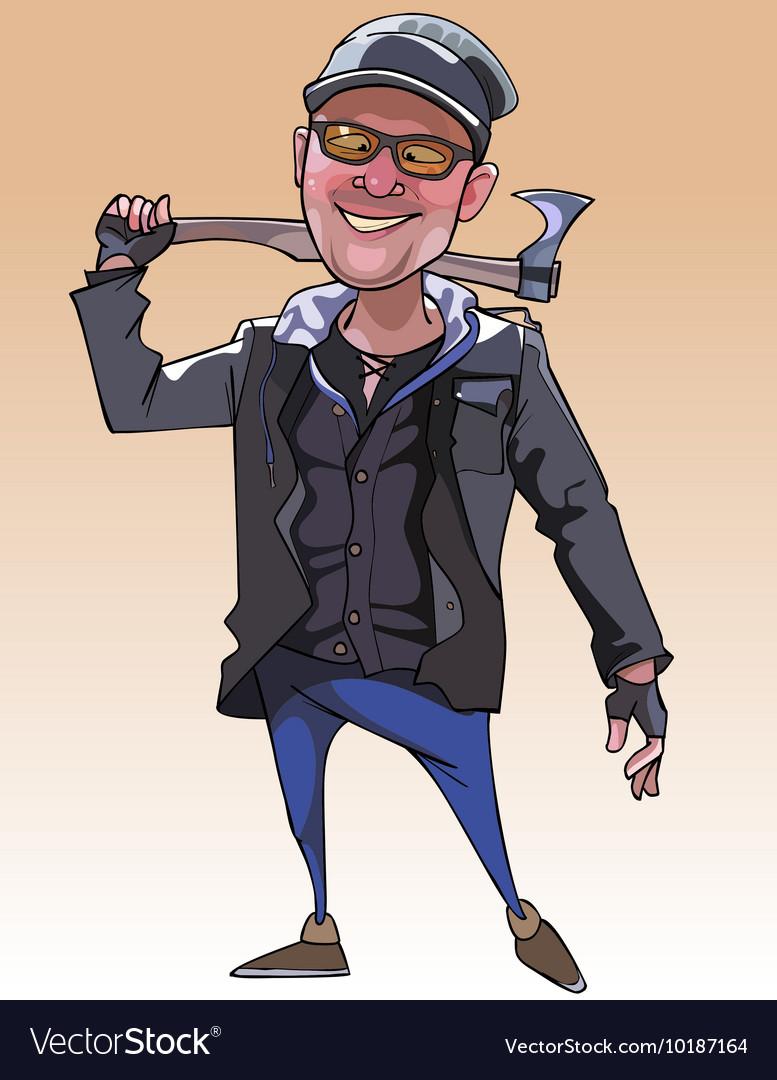 Cartoon cheerful guy with an ax vector image