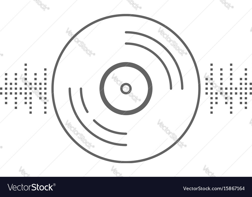 Vinyl record with equalizer sign vector image