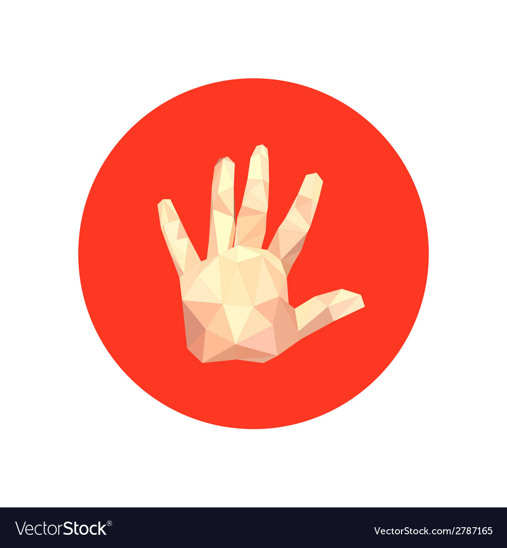Abstract origami hand on red circle royalty free vector abstract origami hand on red circle vector image jeuxipadfo Gallery