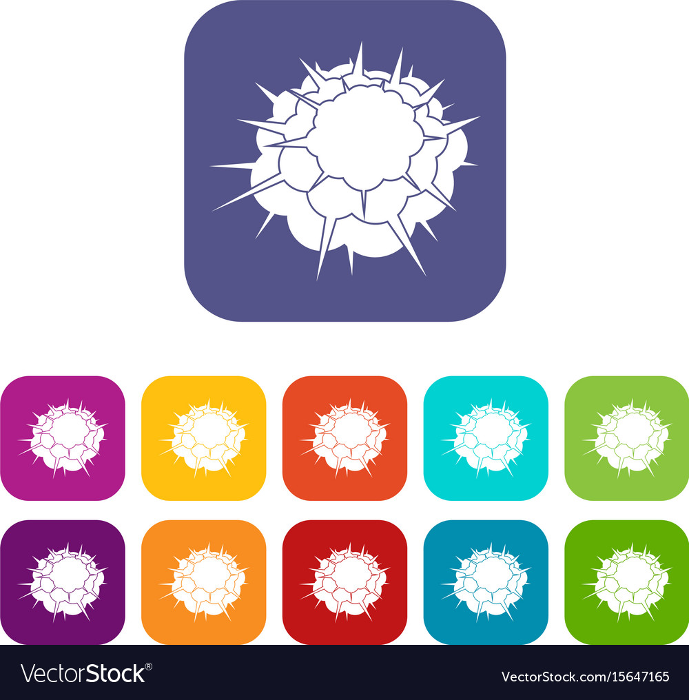 Atomic explosion icons set flat vector image