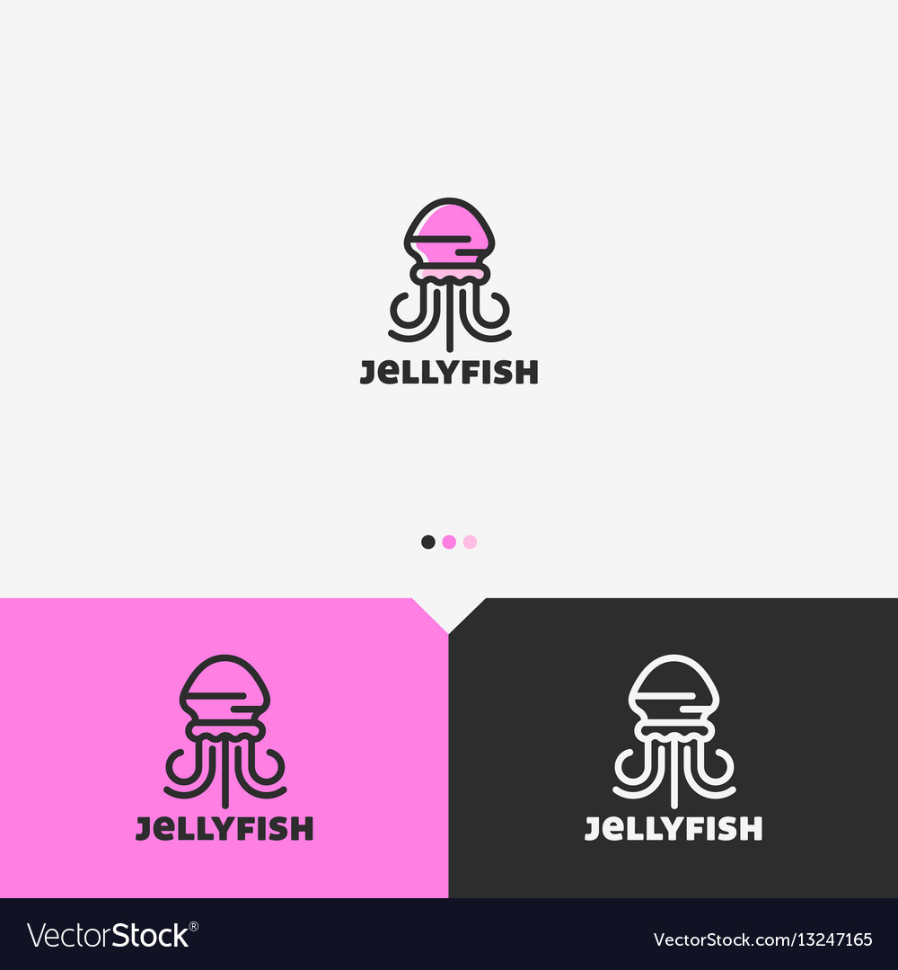 Pink jellyfish logo design template vector image