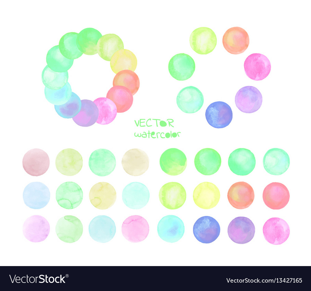 Set of pastel watercolor circles vector image