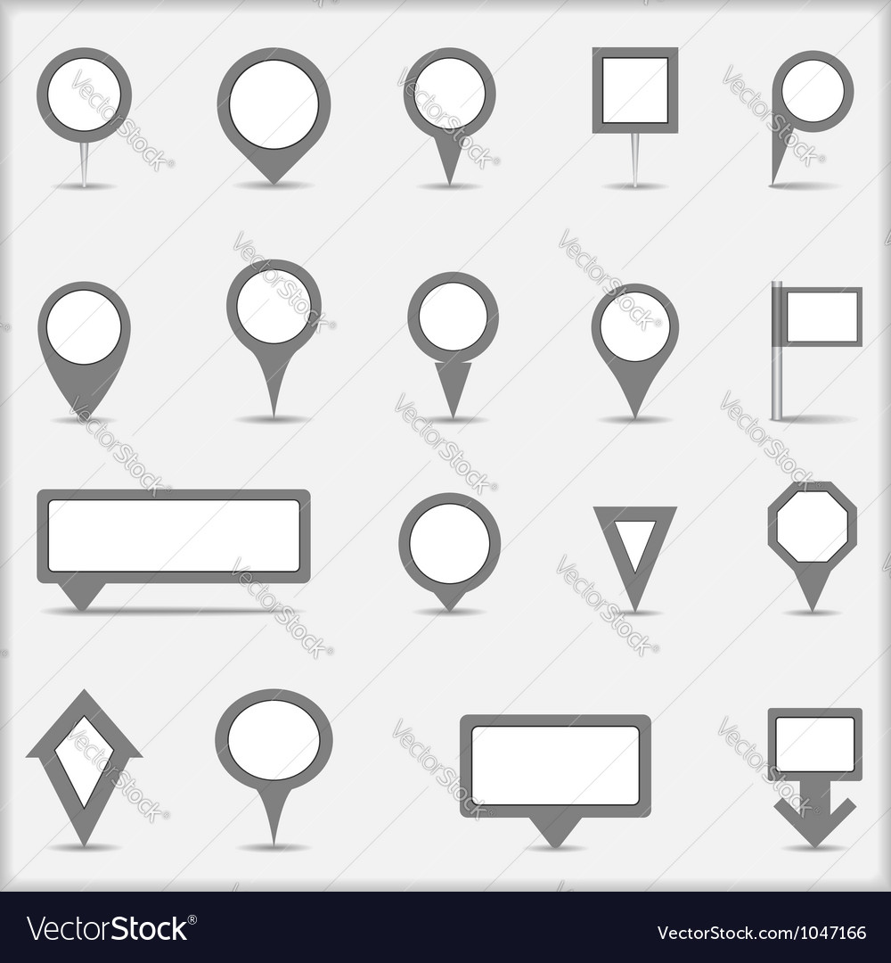 Collection of simple gray map markers vector image
