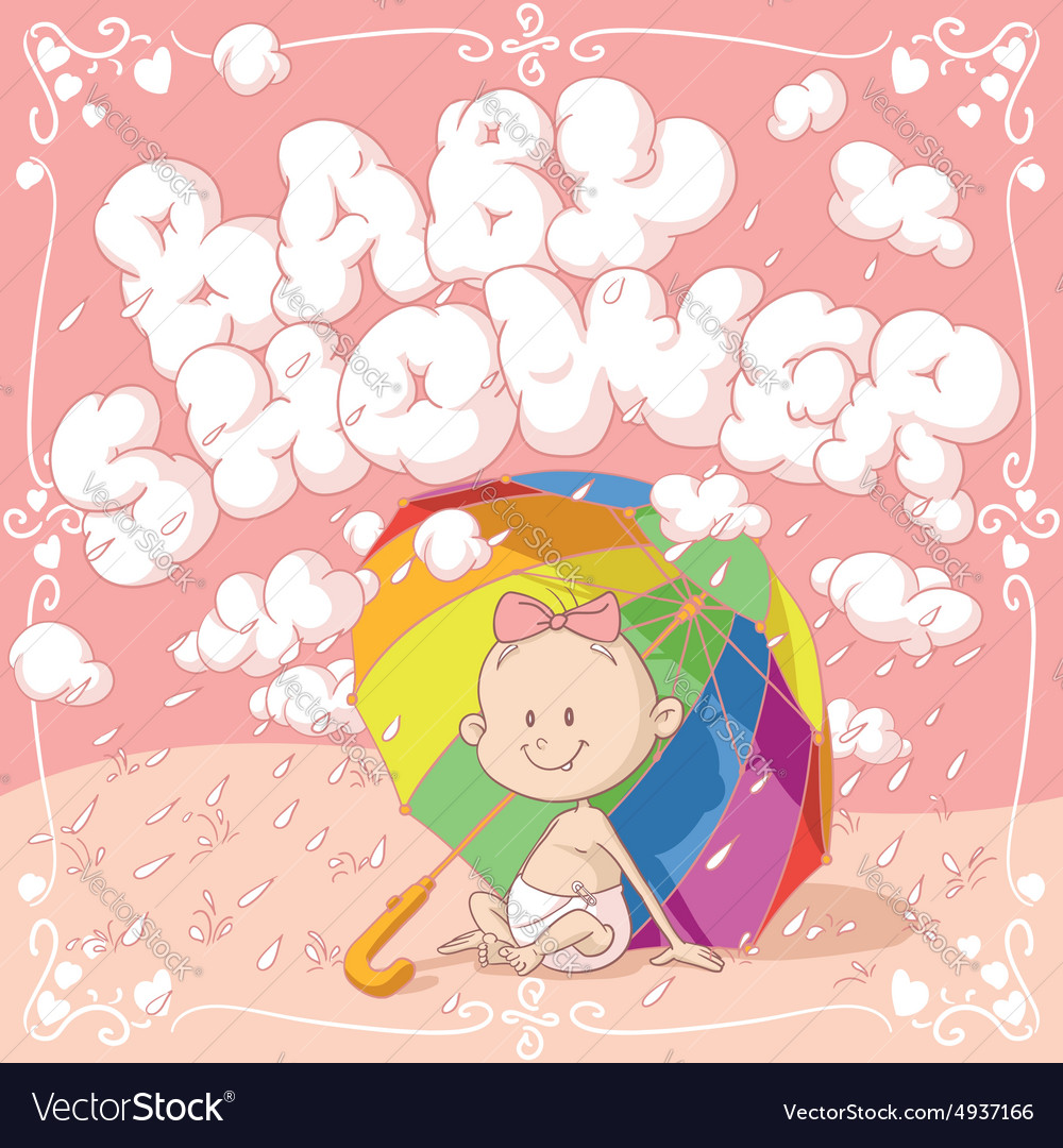 Baby Shower Cartoon Invitation vector image