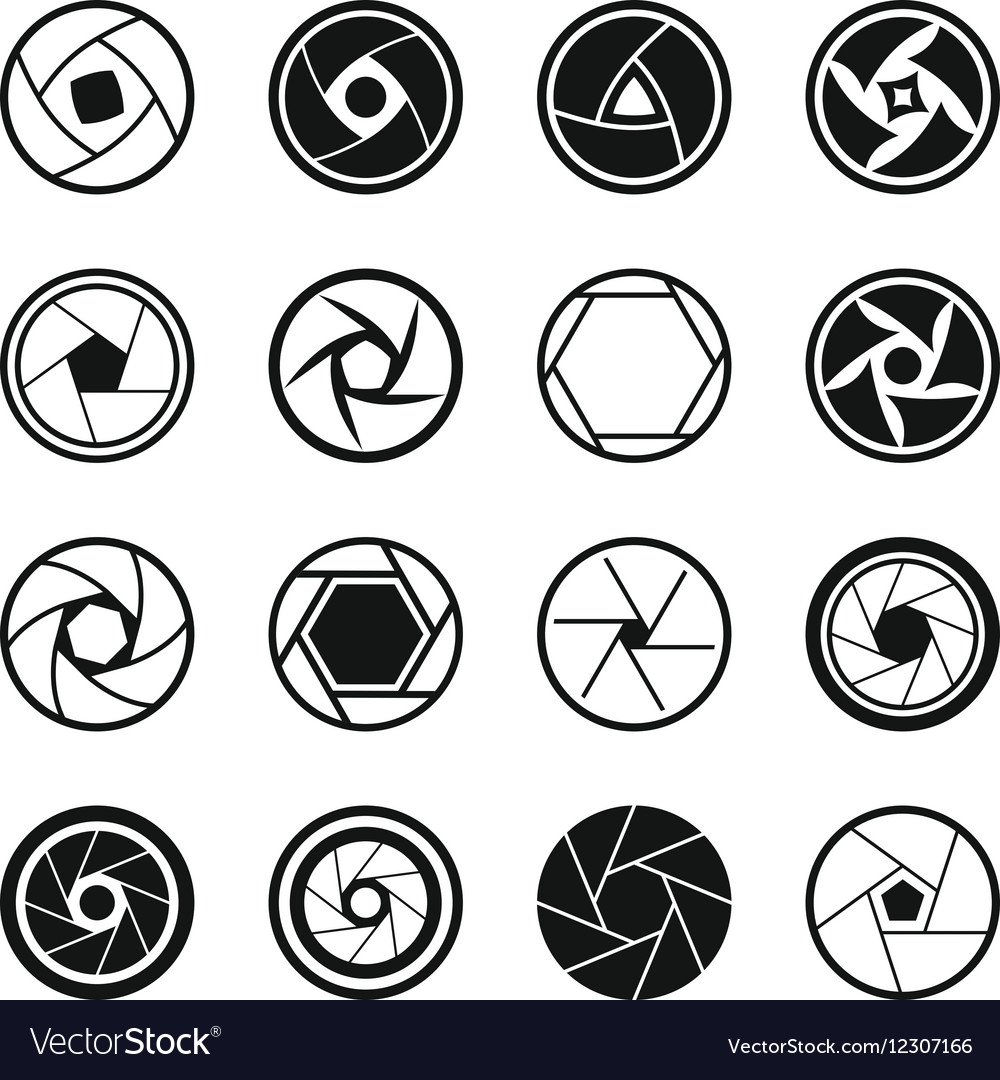 Photo diaphragm icons set simple style vector image