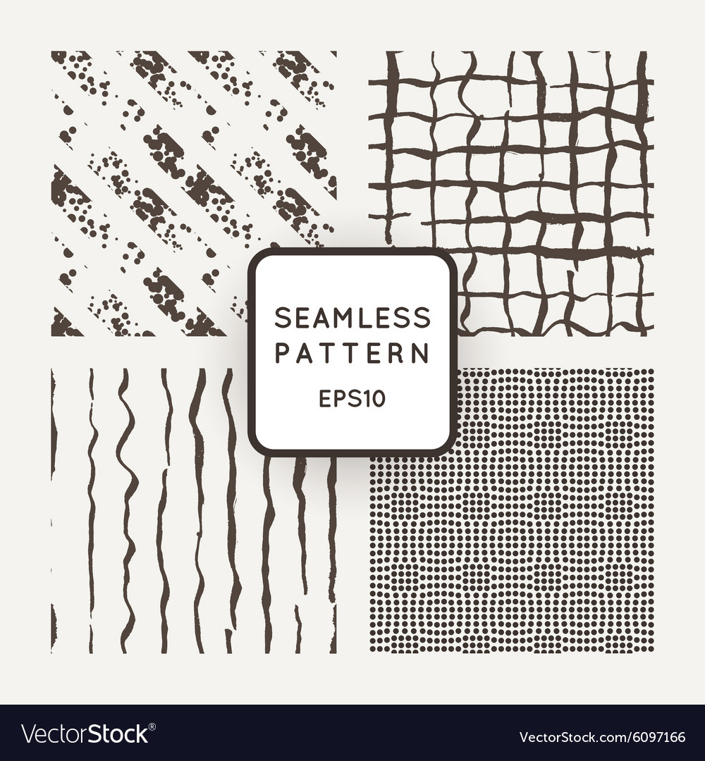 Set of seamless pattern of hand-drawn lines vector image