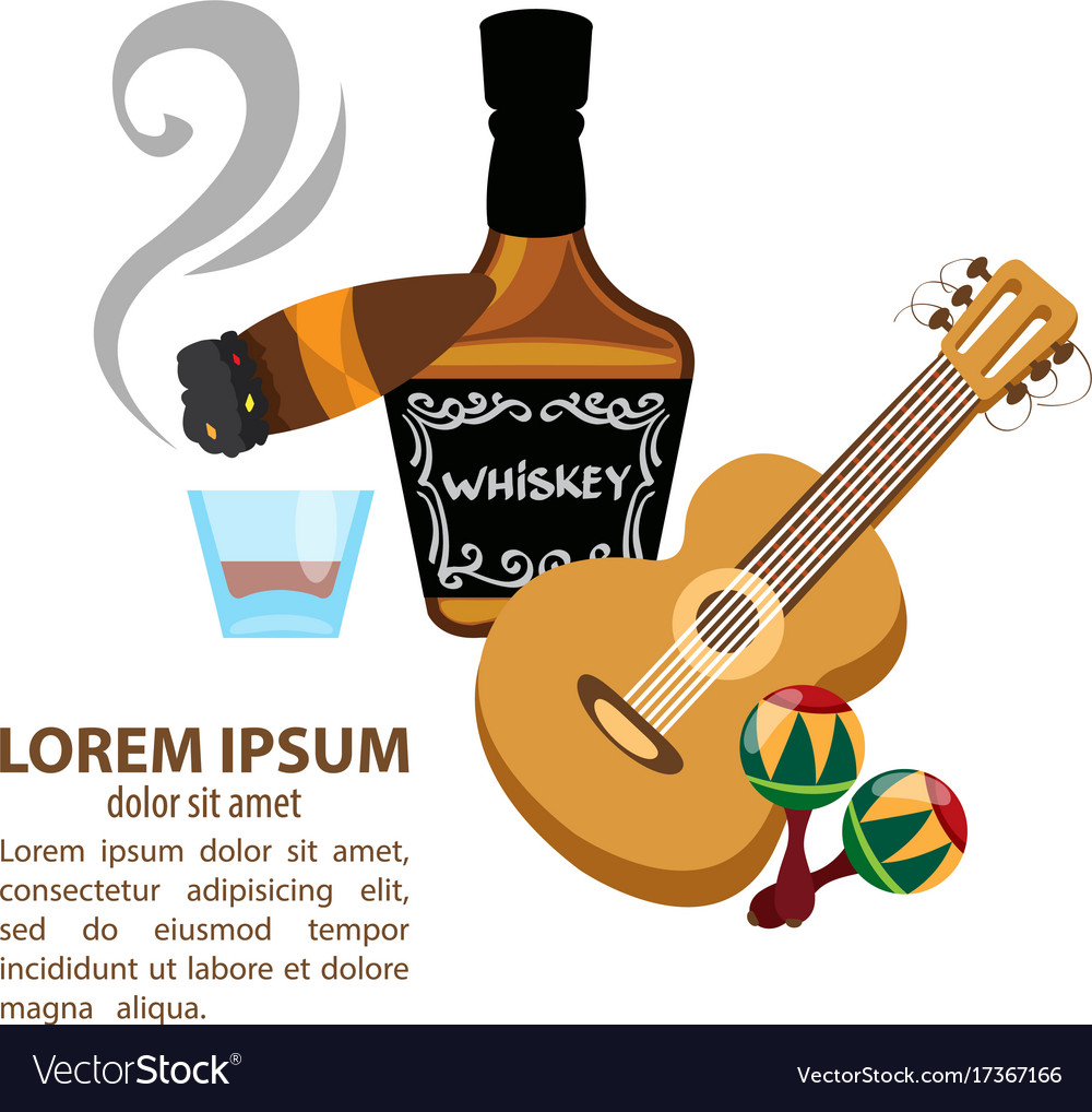 Whisky cigar guitar and maracas mexico and wild vector image