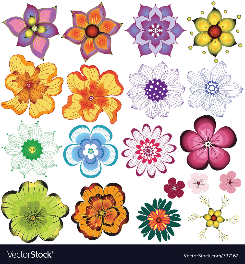 collection decorative flowers vector image - Decorative Flowers