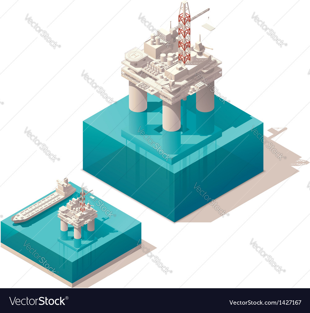 Isometric oil platform vector image