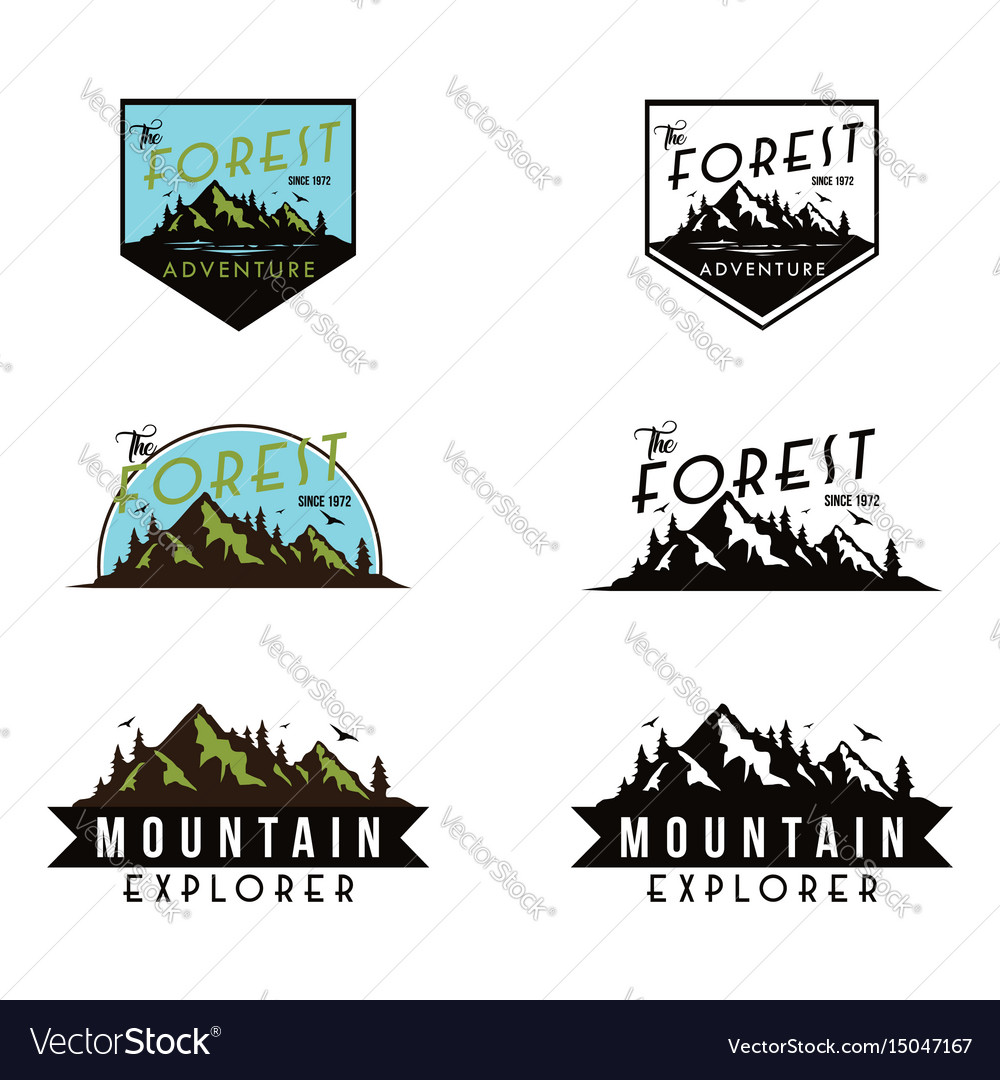 Mountain explorer adventure black and white badge vector image