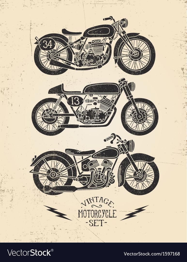 Vintage Motorcycle Set vector image
