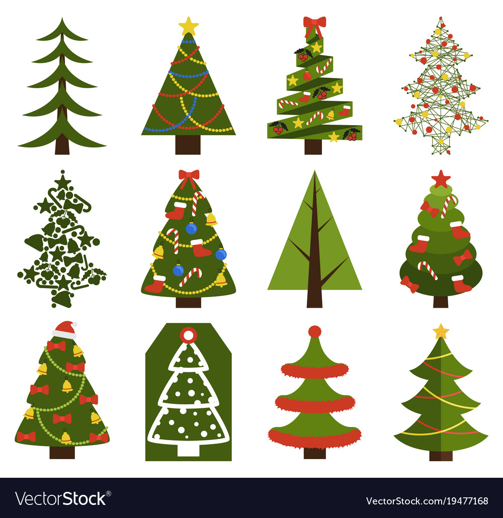 Big set christmas tree symbols with without decor vector image big set christmas tree symbols with without decor vector image biocorpaavc Image collections