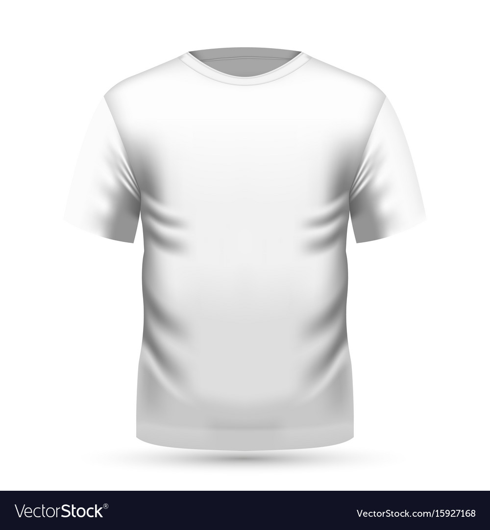 Mens white t-shirt in front view vector image