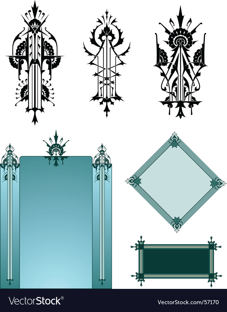 art deco motifs royalty free vector image vectorstock. Black Bedroom Furniture Sets. Home Design Ideas