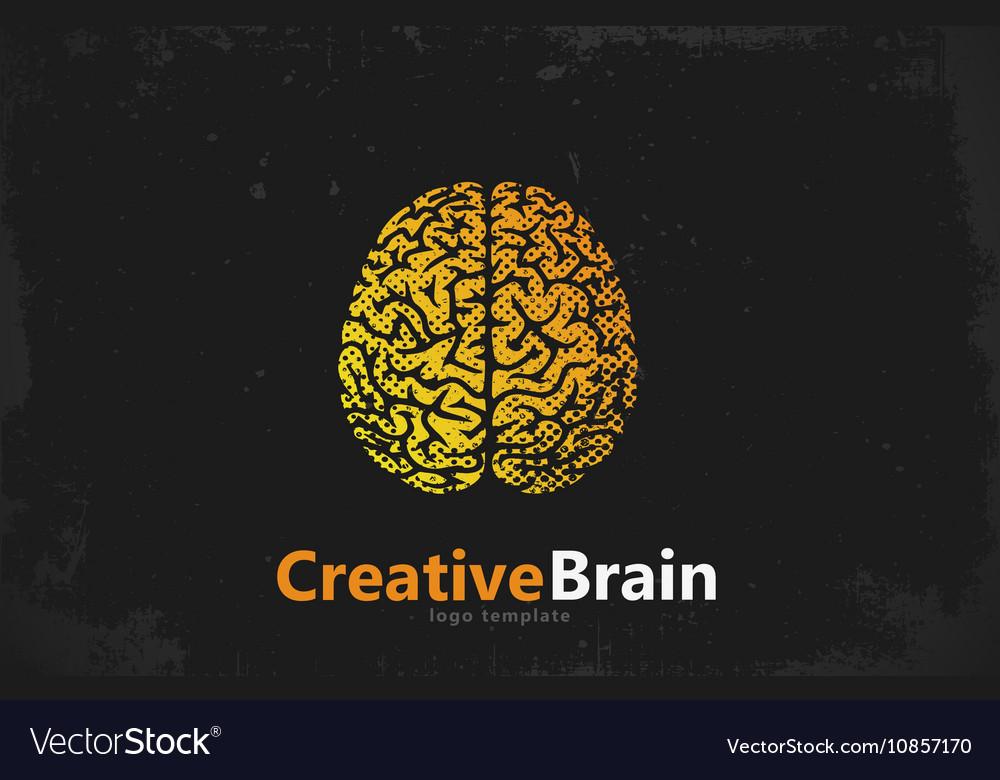 Brain logo design Creative brain Grunge style vector image