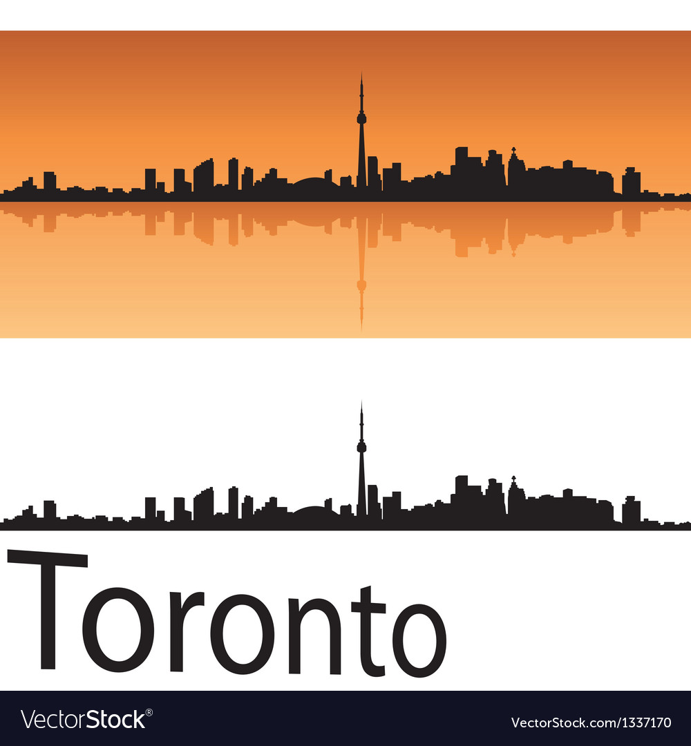 Toronto skyline in orange background vector image