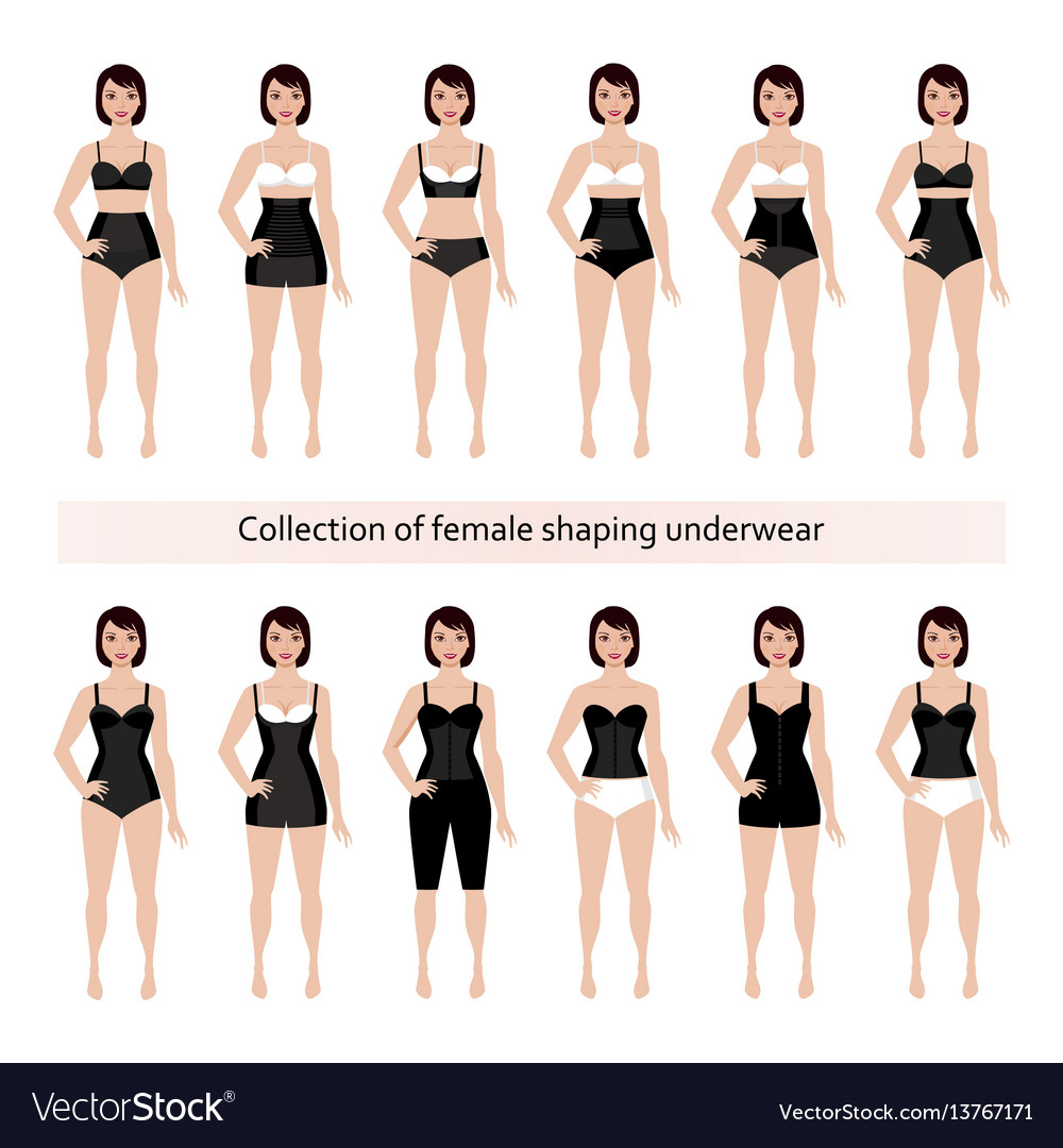 Collection of female shaping underwear vector image