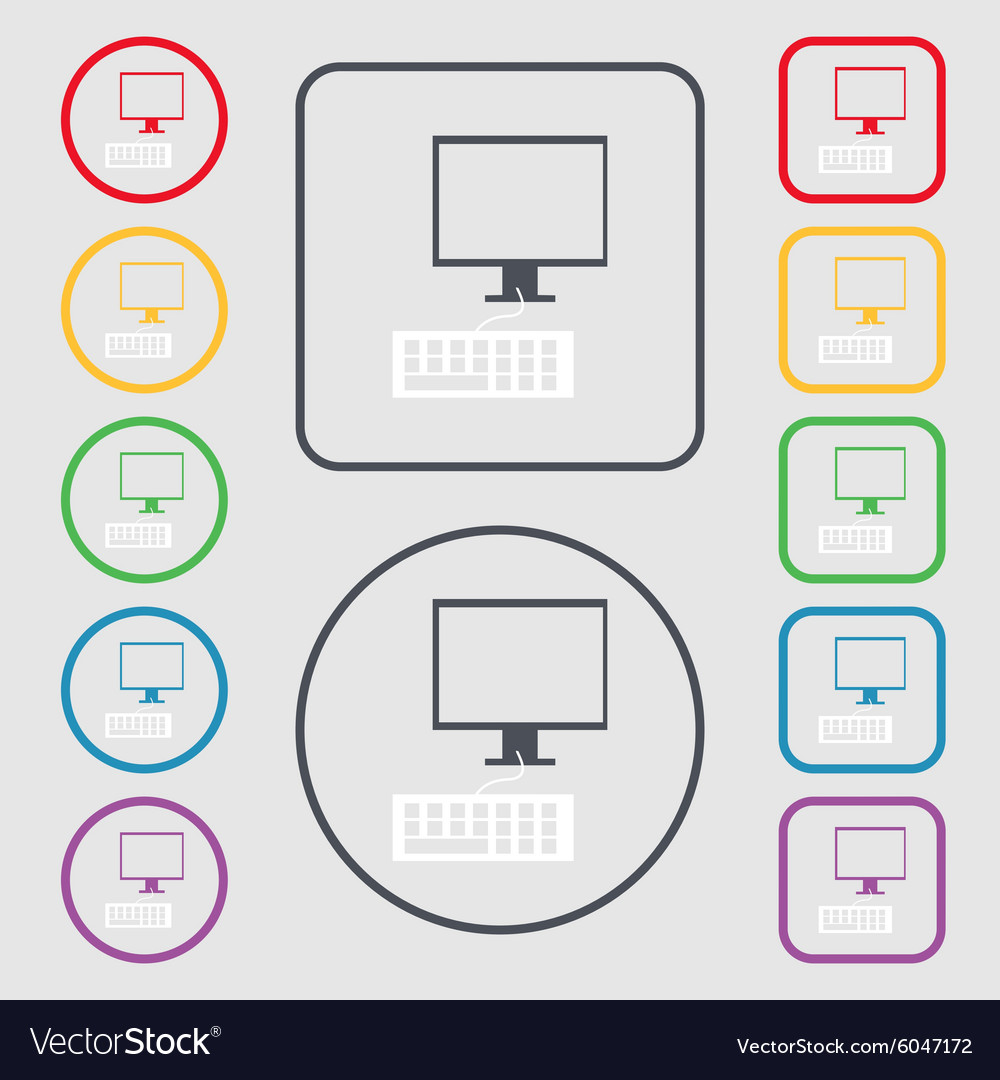 Computer monitor and keyboard icon symbols on the vector image biocorpaavc Choice Image