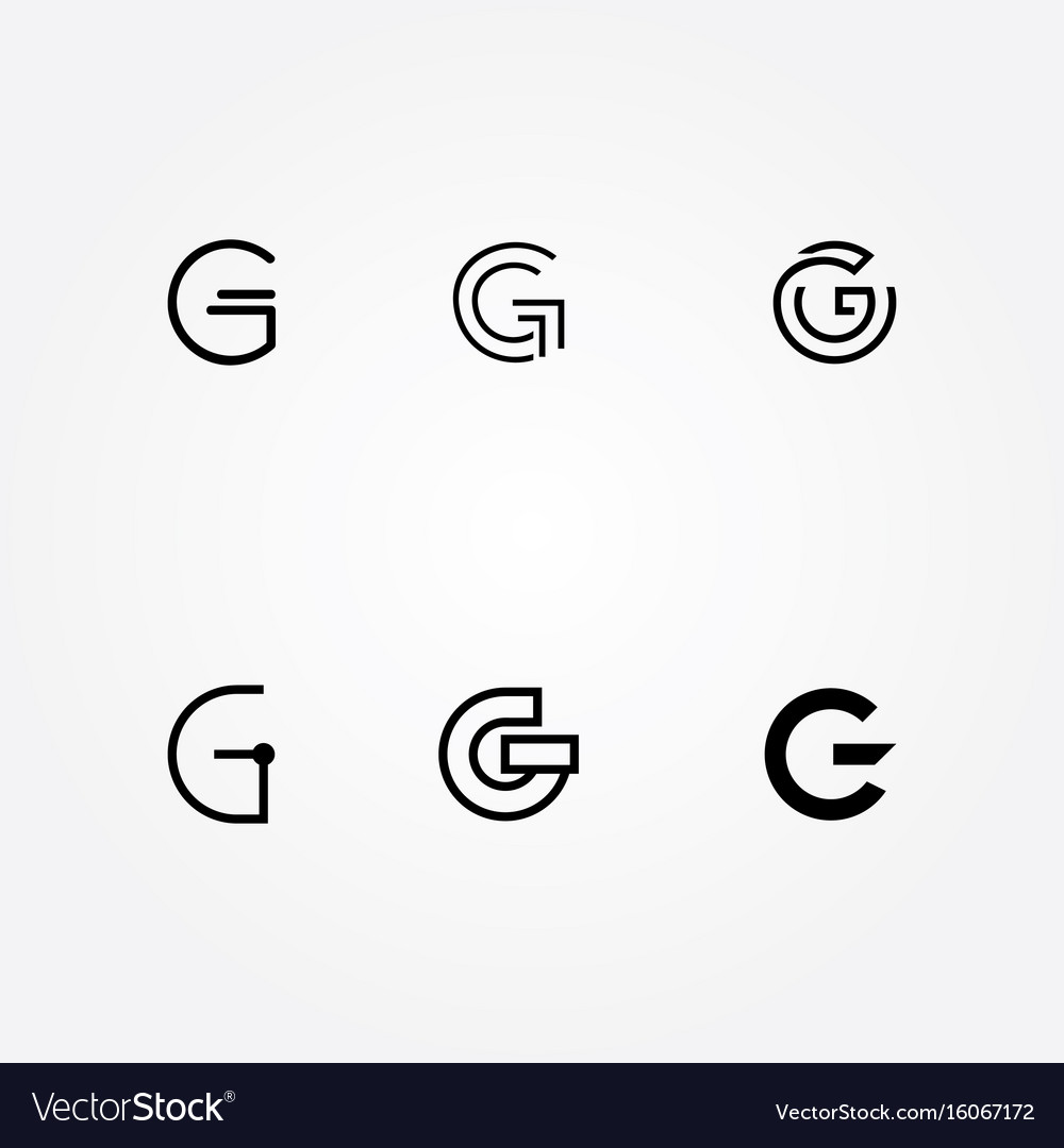 Initial letter g logo typo pack vector image
