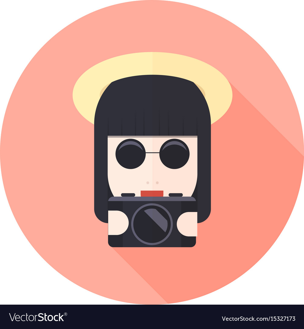 Girl with glasses and photo camera character vector image