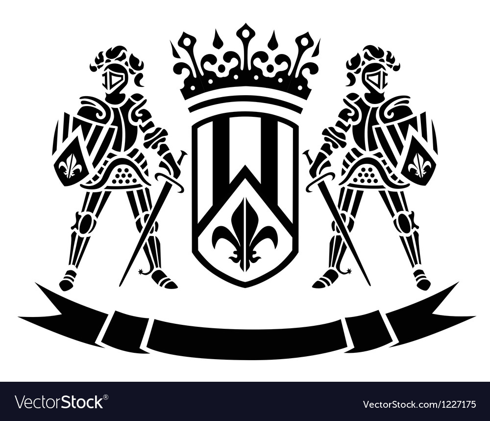 Oat of arms with knights Vector Image