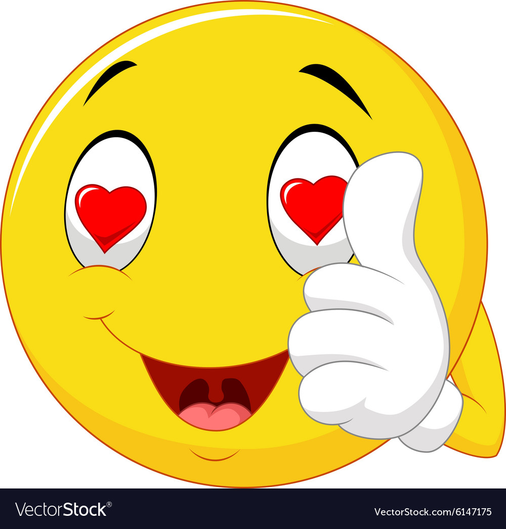 Cartoon happy love face and giving thumb up vector image