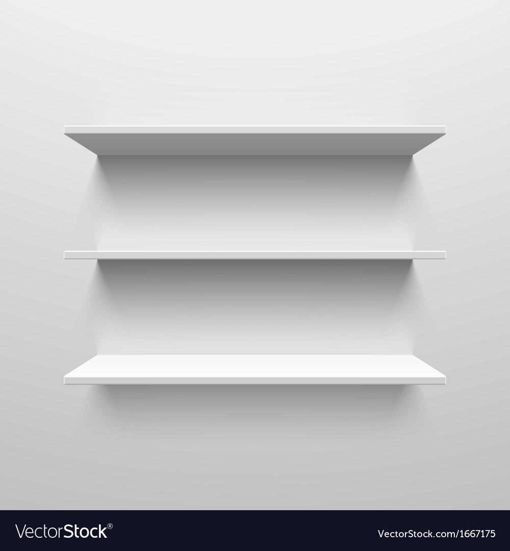 Three white shelves vector image